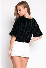 flight lux 1/2 sleeve fur top
