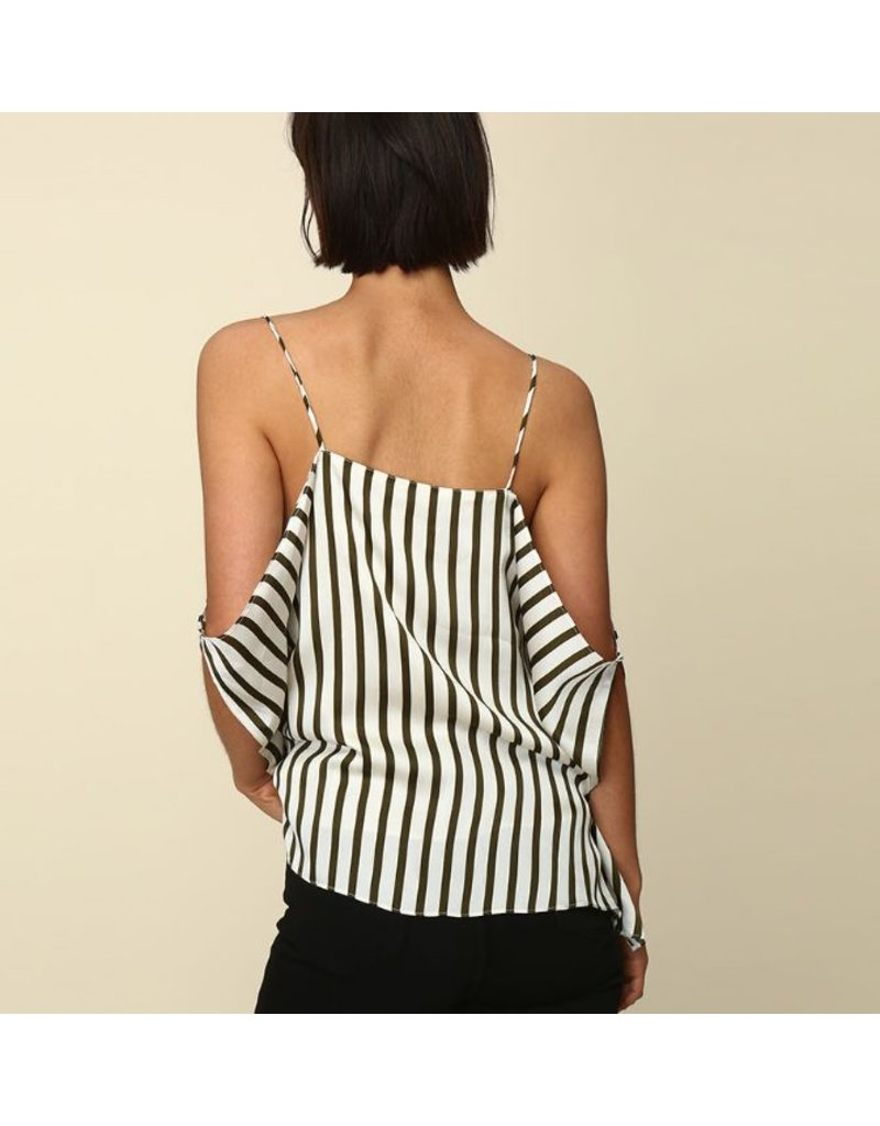 line & dot line & dot cold shoulder top