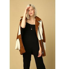 line & dot line & dot shearling coat