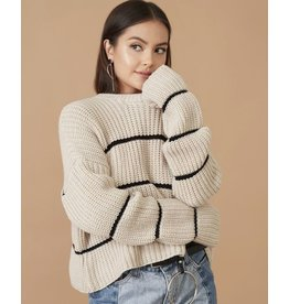 flight lux knit crew striped sweater