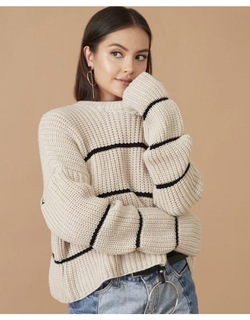 flight lux knit crew striped sweater