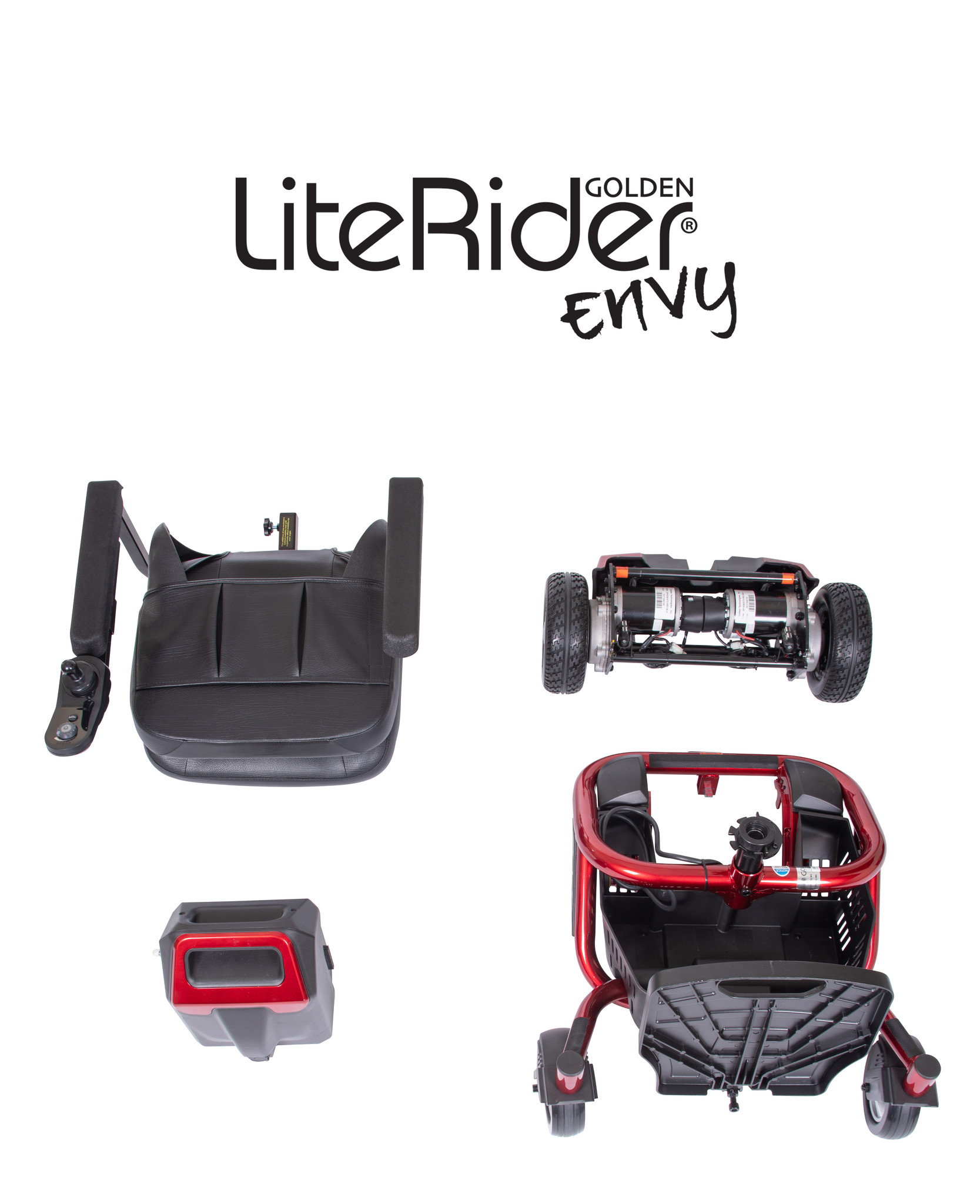 LiteRider Envy Portable Powerchair shown in disassembled pieces for portability