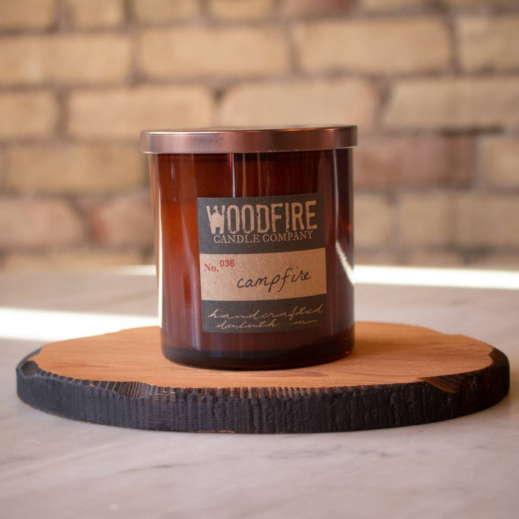 Woodfire Whiskey Glass Candle - Campfire