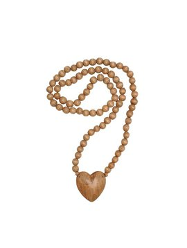 Wood Heart Beaded Decor