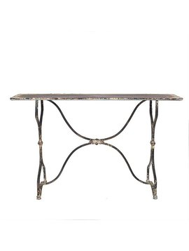 Metal Table in Distressed white/black finish