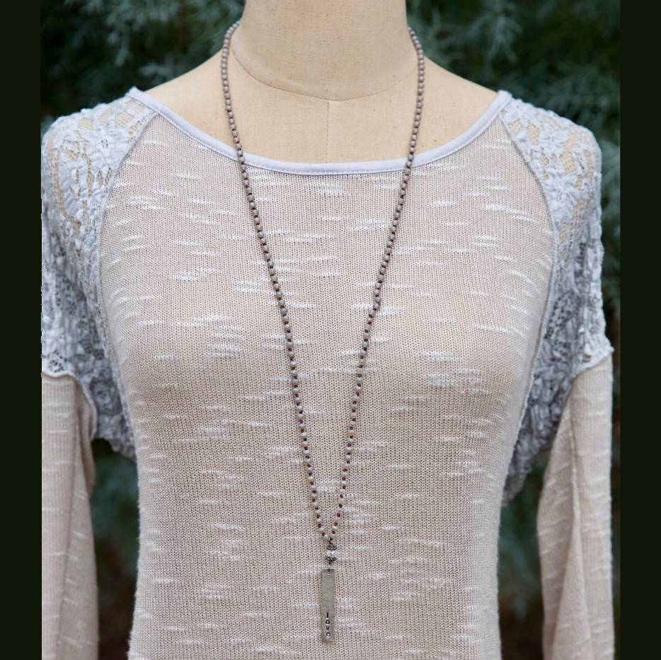 Inspirational Crystal Rope Necklace - Love
