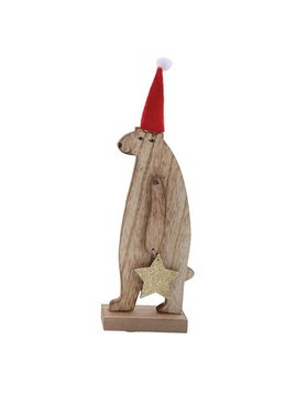 Wood Bear with Christmas Hat