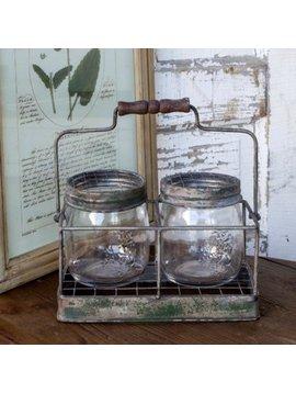 Twin Mason Jar Flower Arranger