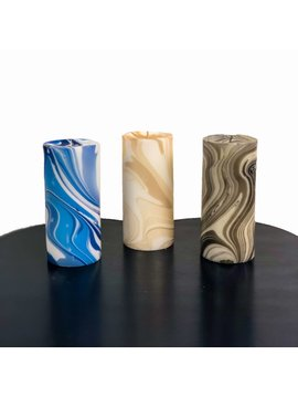 Hand Marbled Pillar Paraffin Wax Candle