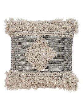 Diamond Fringe Pillow Natural/Black 20x20
