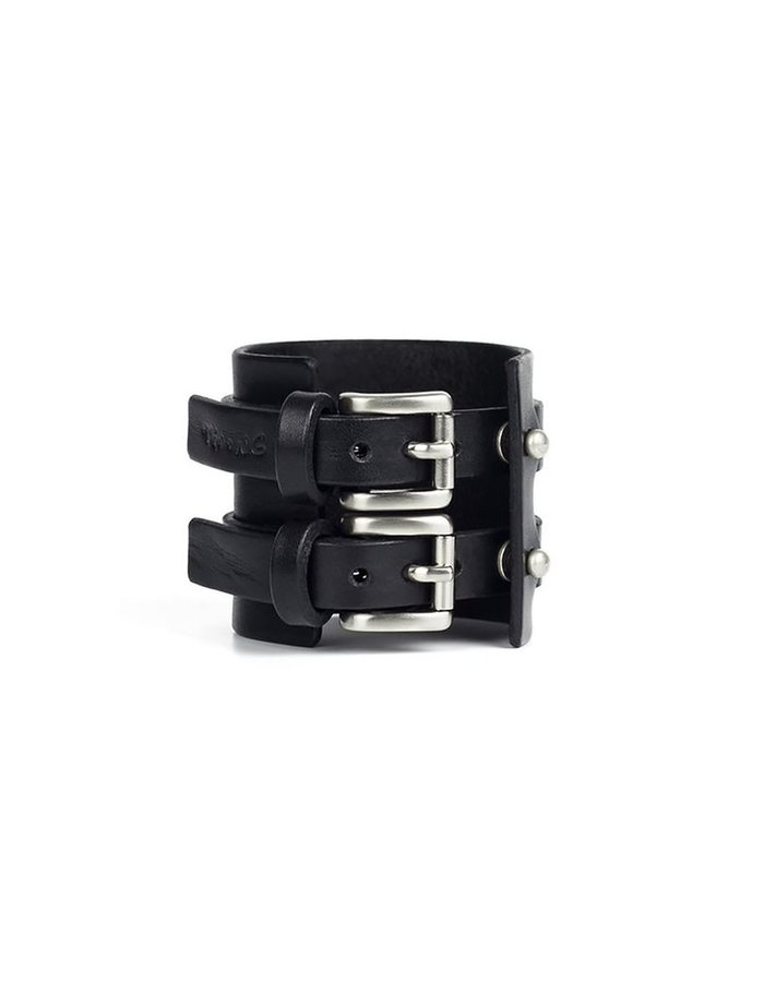 TEO + NG SMOTISO LEATHER CUFF / ANTIQUE SILVER