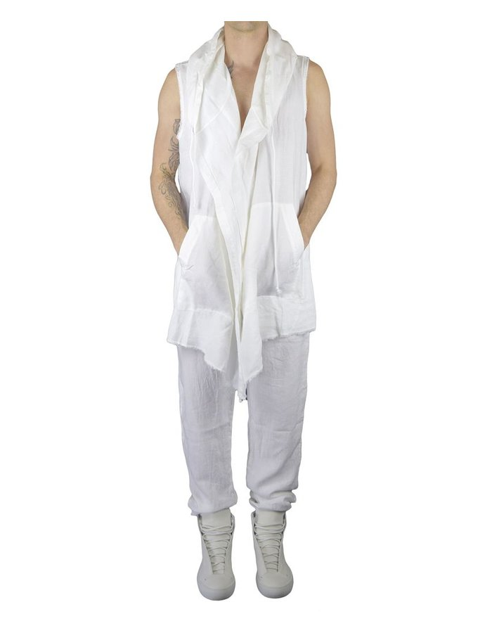 LOST AND FOUND ROOMS LINEN SLEEVELESS CARDIGAN: WHITE