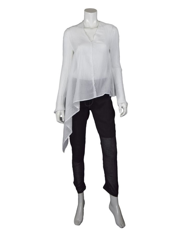 LOST AND FOUND ROOMS WHITE ASYMMETRIC COTTON SHIRT