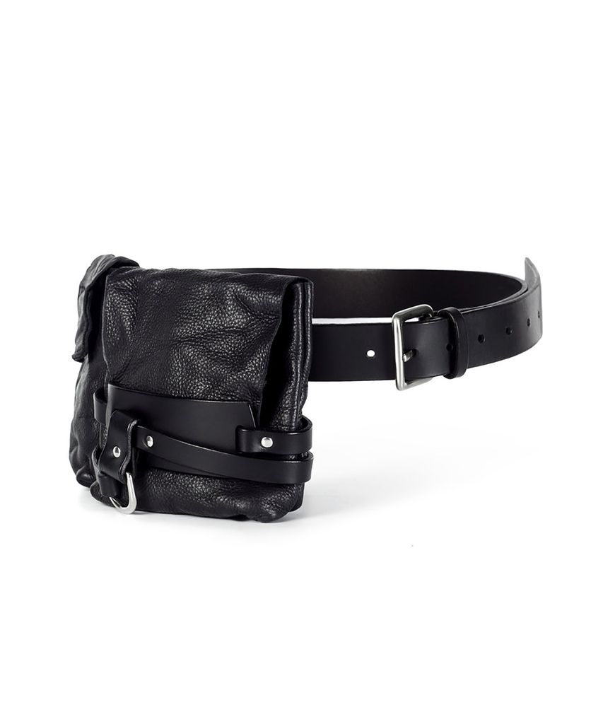 SAKUO LEATHER BELT WITH 2 POUCHES