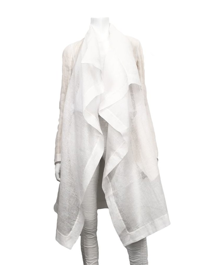 MASNADA SHEER LINEN COAT -WHITE