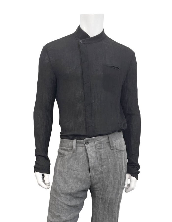 LOST AND FOUND COTTON SHIFTED FRONT SHIRT BLK