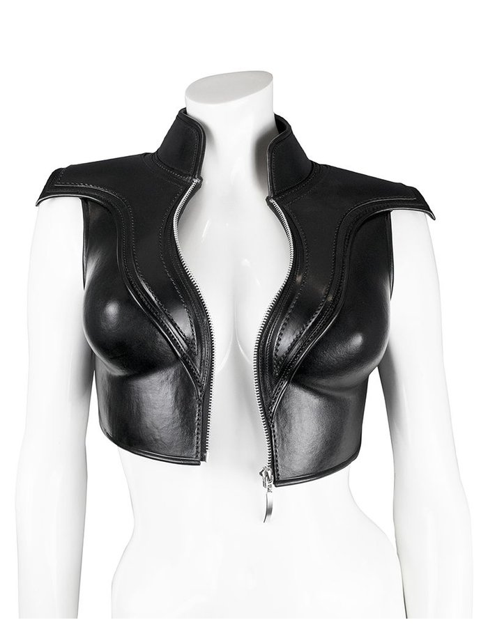 CECILIO LEATHER DESIGNS LEATHER BODICE WITH ZIP