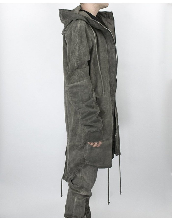 LOST AND FOUND ROOMS OVERSIZED HOODED PARKA COLD GREY