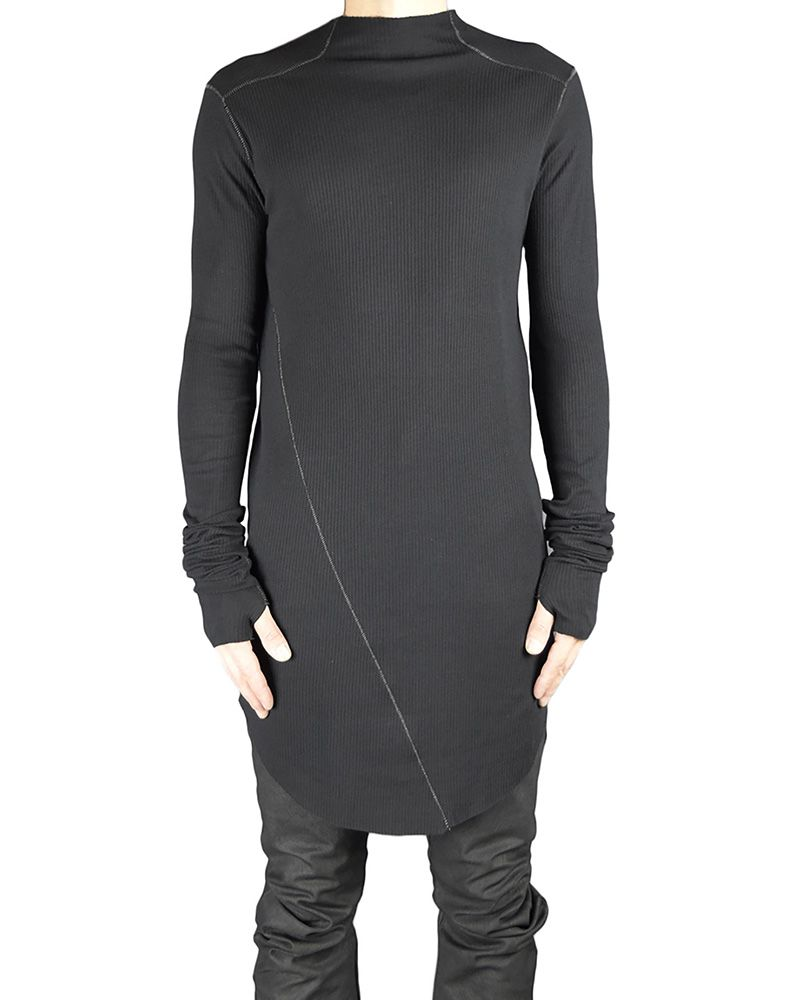 RIBBED TURTLE NECK JERSEY BLK