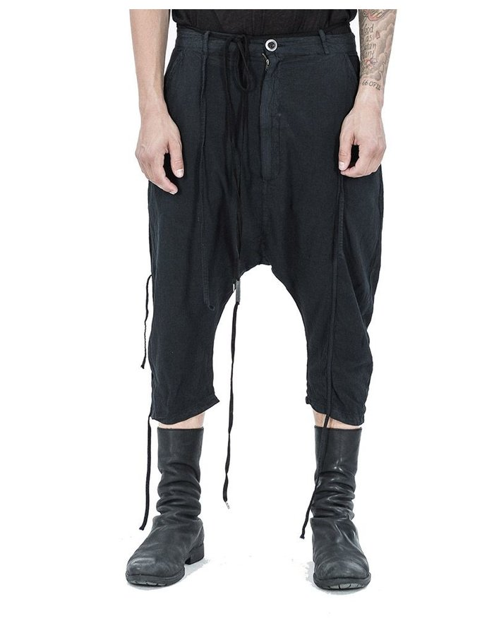 ARMY OF ME LIGHT CROPPED COTTON TROUSERS BLACK