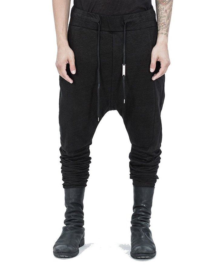 ARMY OF ME LINEN JERSEY SKINNY TROUSERS BLACK