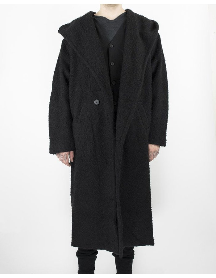 ISABEL BENENATO HOODED COAT WITH CLOSURE DETAIL