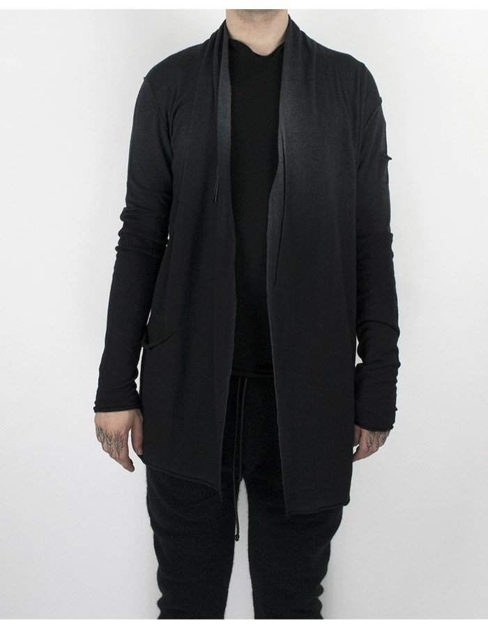 ISABEL BENENATO KNIT WOOL CARDIGAN BLACK/GREY