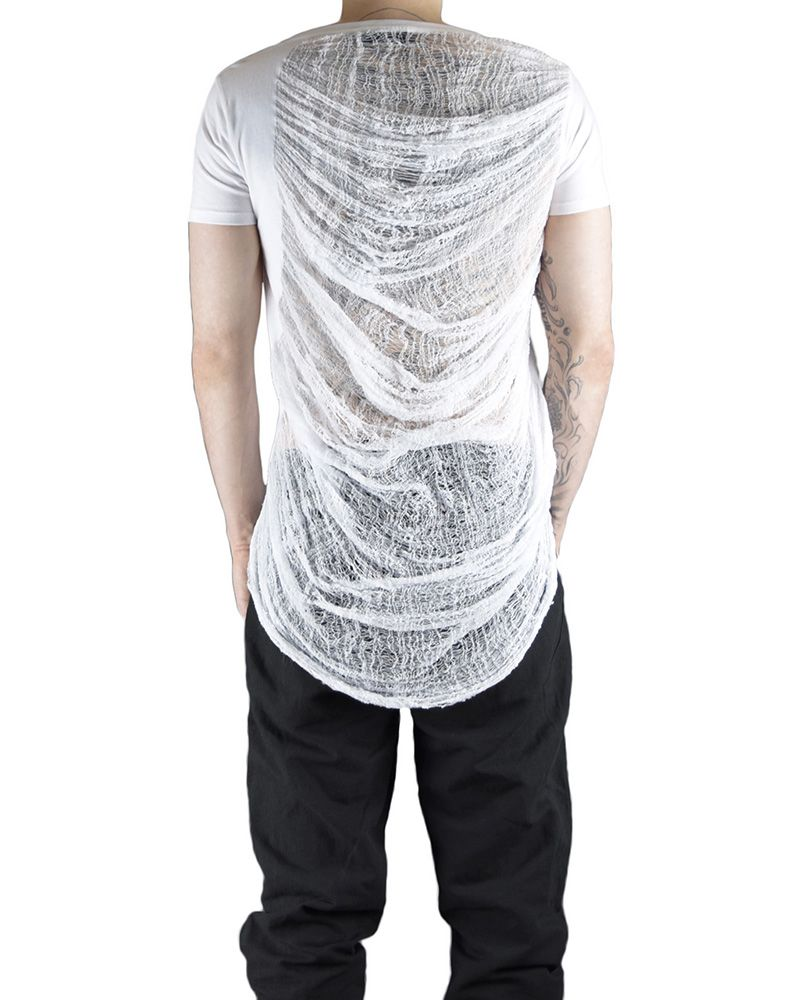 V NECK TEE WITH RIPPED BACK :WHT