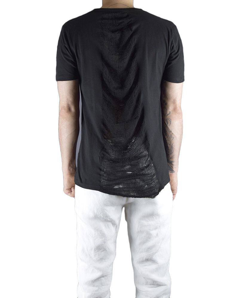 CREW NECK SHORT SLV WITH PARTIAL RIP BACK :BLK