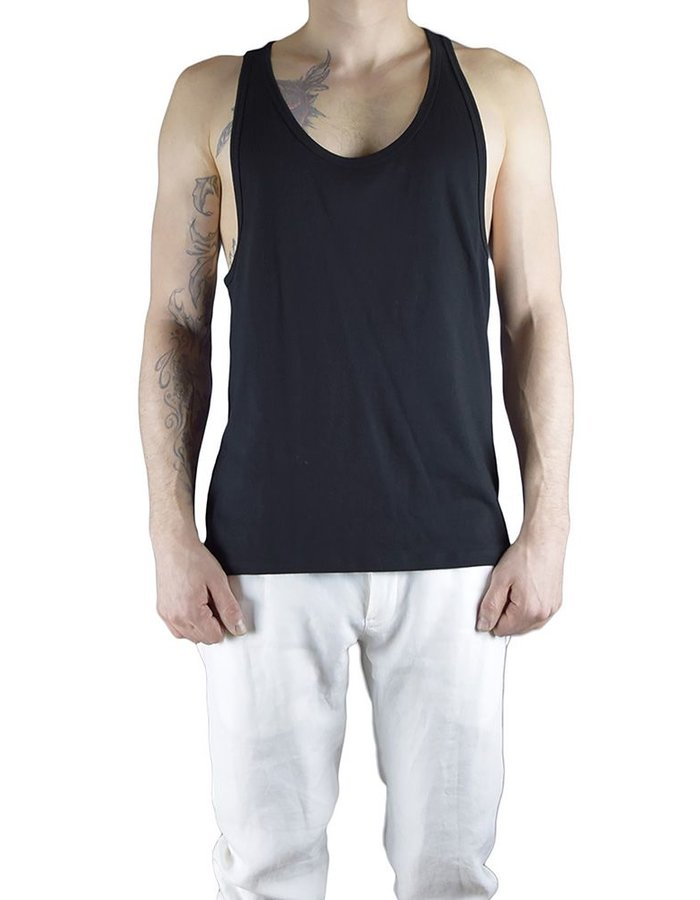 CHRIS P ATHLETIC TANK WIH PARTIAL RIPPING :BLK