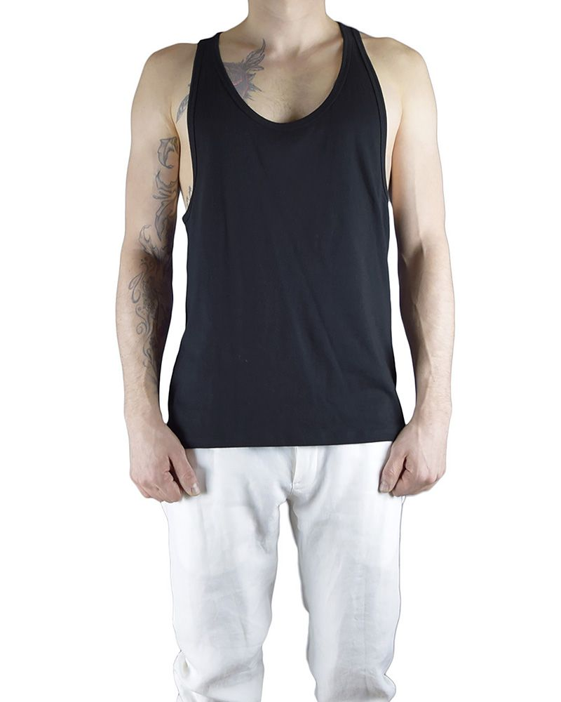ATHLETIC TANK WIH PARTIAL RIPPING :BLK