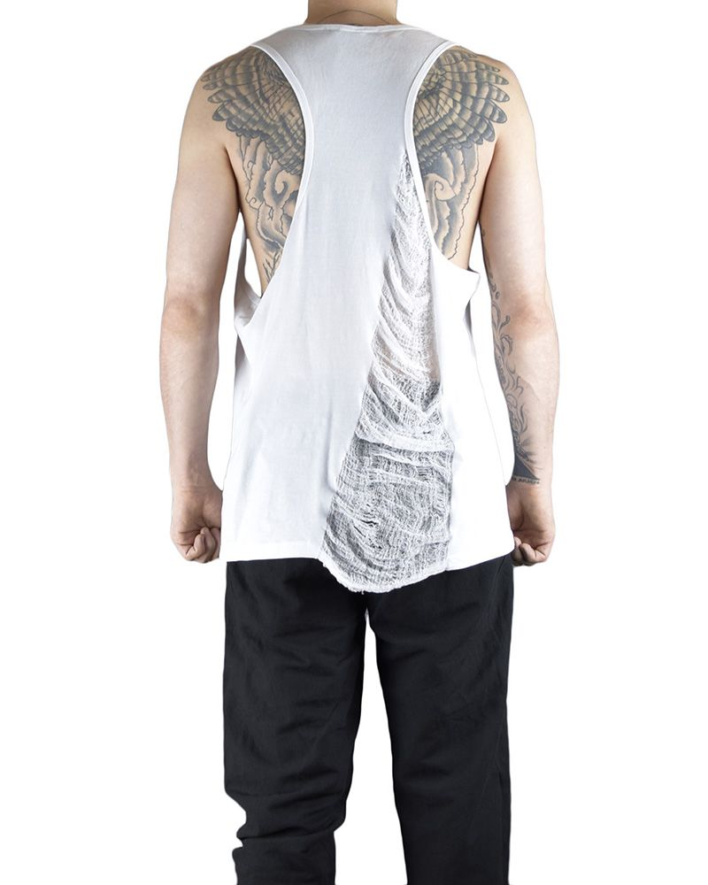 ATHLETIC TANK WIH PARTIAL RIPPING :WHT
