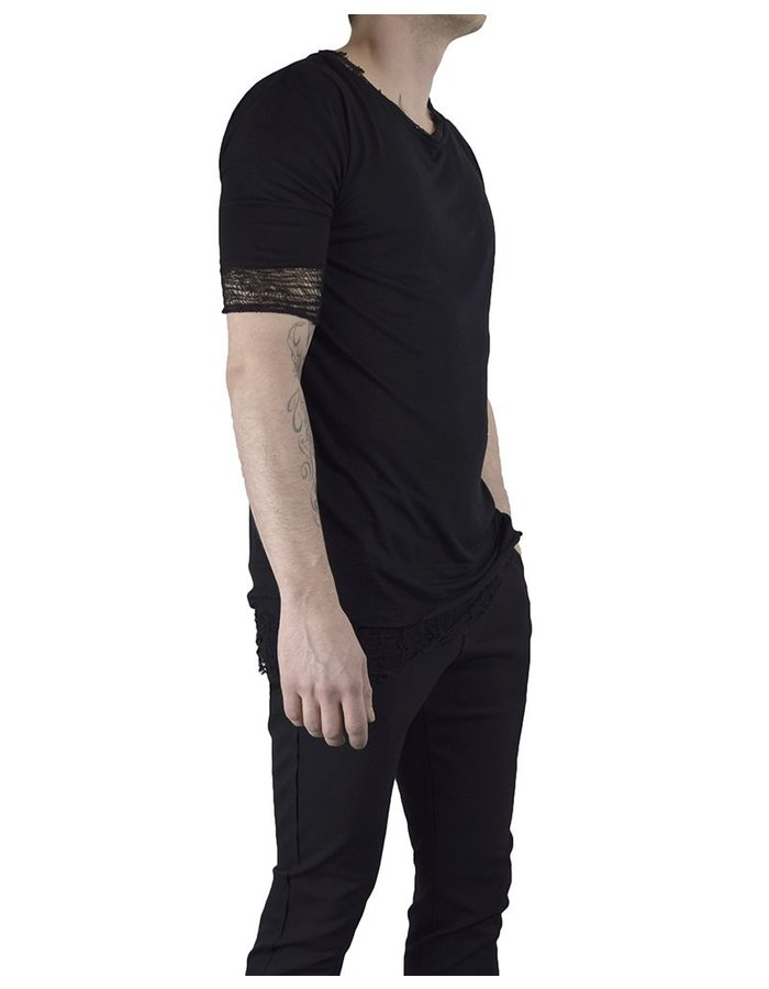 DAVID'S ROAD T-SHIRT WITH DESTROYED BOTTOM