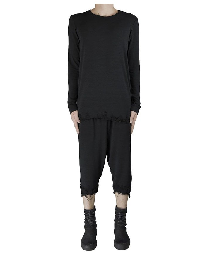 DAVID'S ROAD WOOL L/S TOP WITH DESTROYED BOTTOM BLK