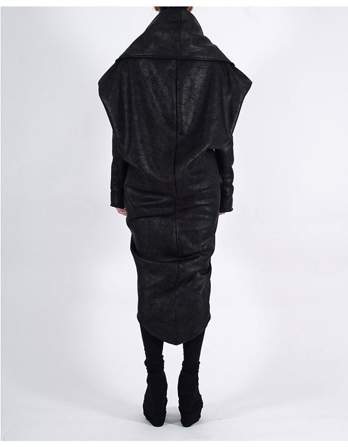 DAVID'S ROAD SWEATSHIRT ROUND COAT LONG WITH LEATHER EFFECT