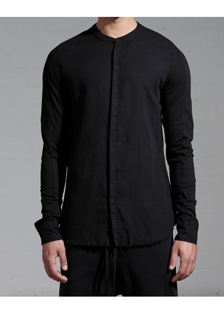 THOM KROM MANDARIN COLLAR SHIRT WITH KNIT SLEEVE