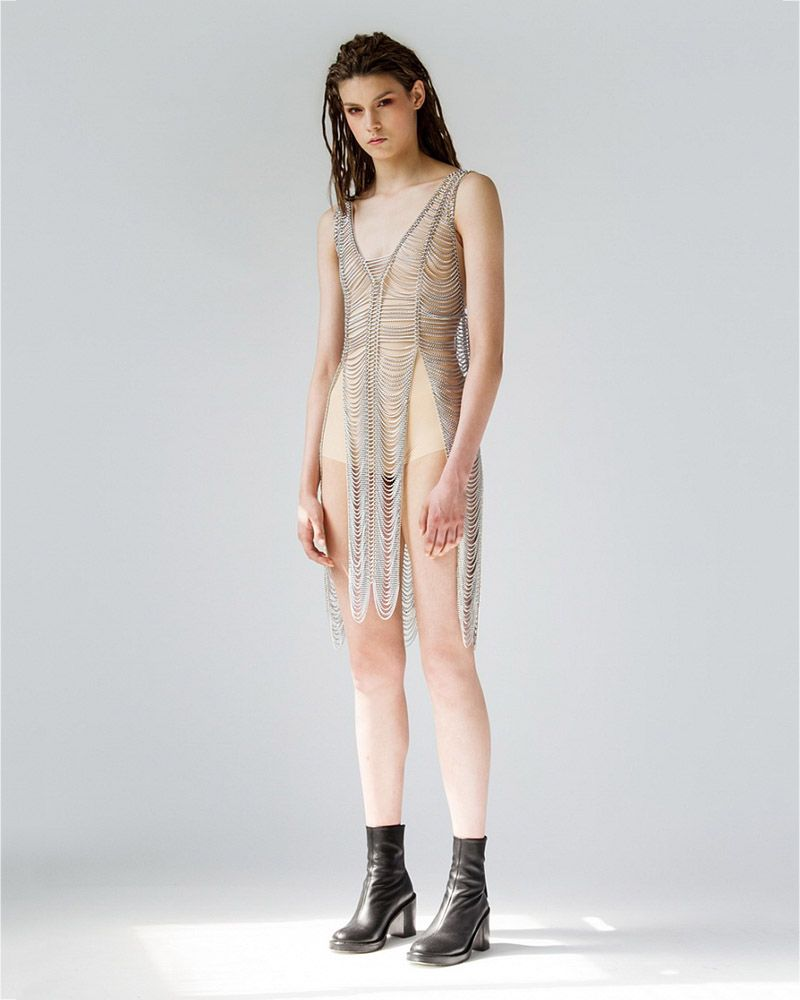 METAL DRESS WITH SLITS