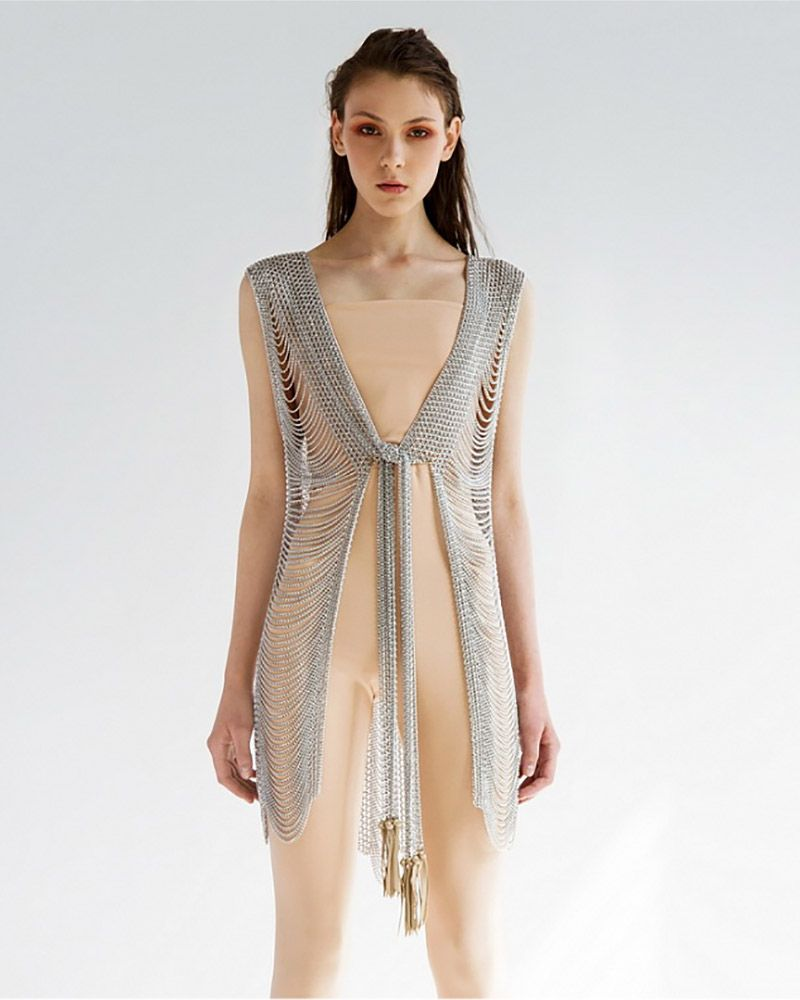 DRAWSTRING LONG METAL VEST WITH CHAIN BACK