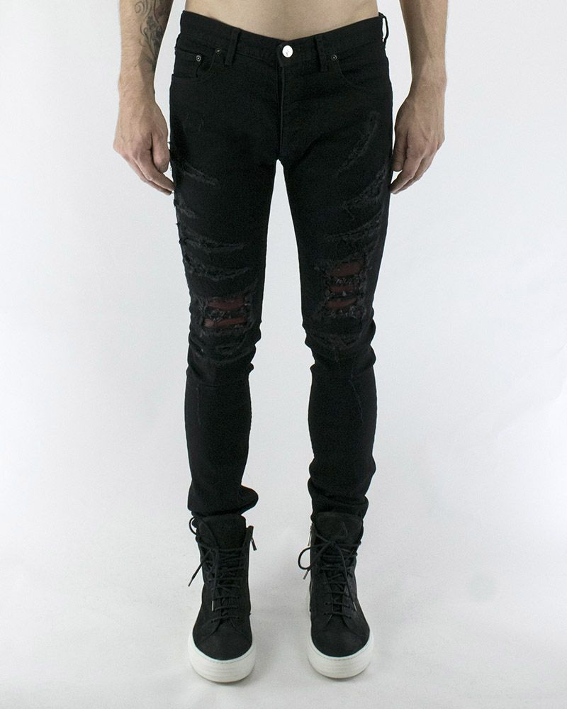 RED LEATHER INSET RIPPED JEANS