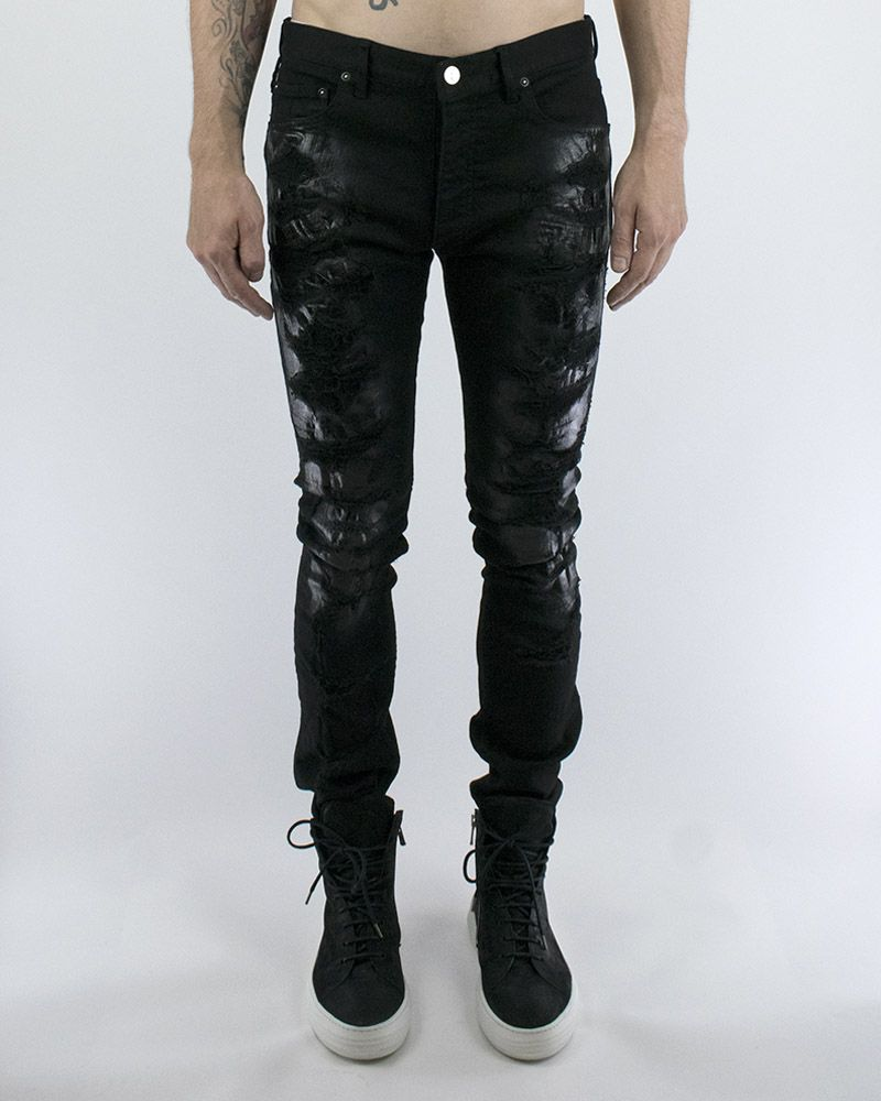 ANDREA WAXED CRUSHED DISTRESSED JEAN