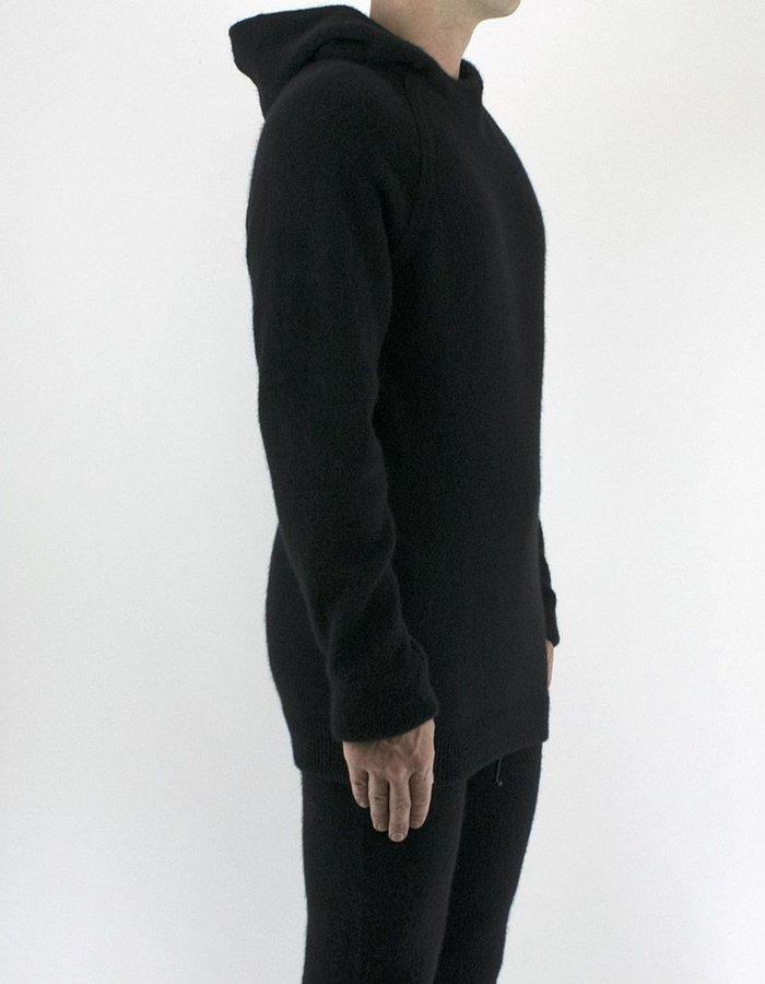 ISABEL BENENATO KNIT HOODED CREW NECK BLACK