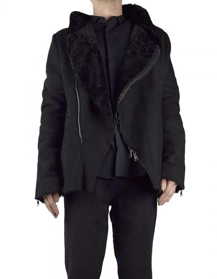 GIORGIO BRATO HOODED SHEARLING ZIP JACKET