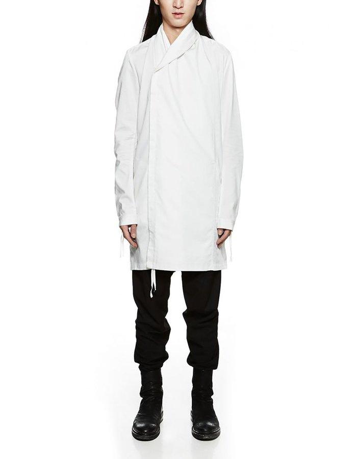JOE CHIA ASYMMETRIC WRAP COLLAR SHIRT WHITE