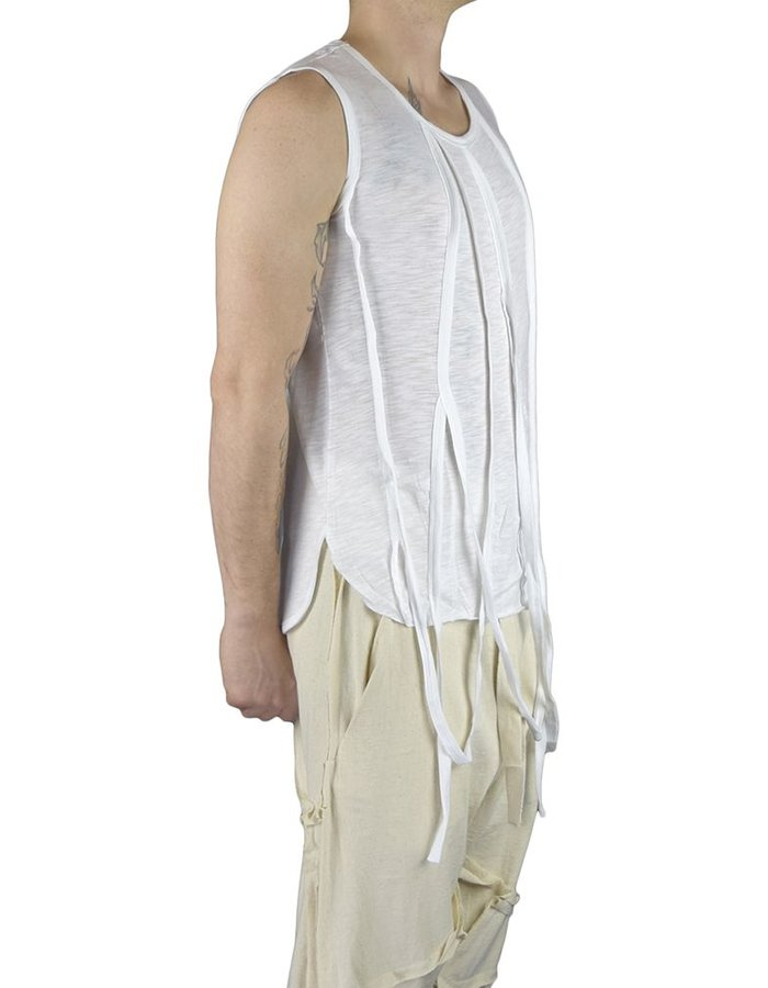 UNPLUGGED MUSEUM STRING SLEEVELESS T SHIRT:WHT