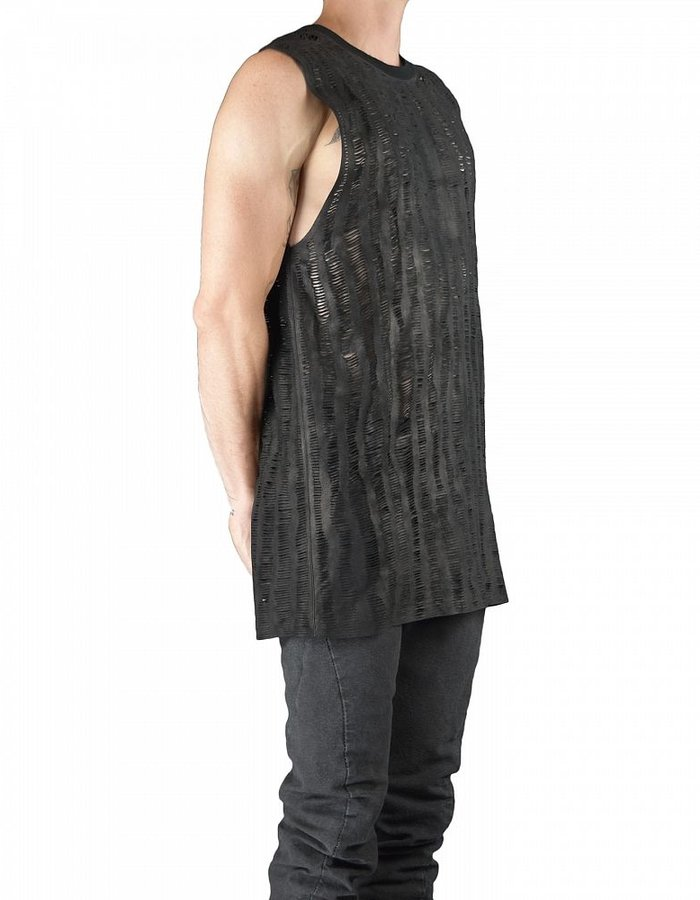 MONARC 1 LEATHER HAND SLICED  SLEEVELESS TOP
