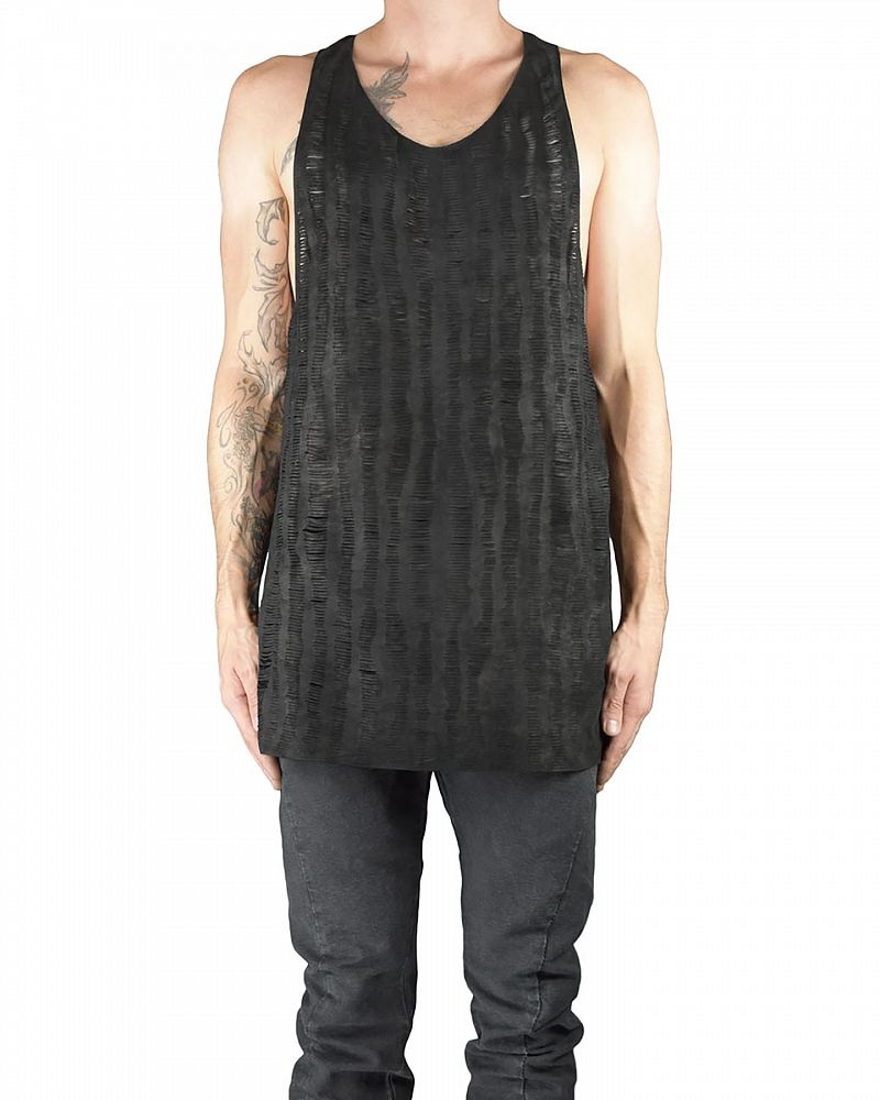 LEATHER TANK TOP IN SLIT LEATHER