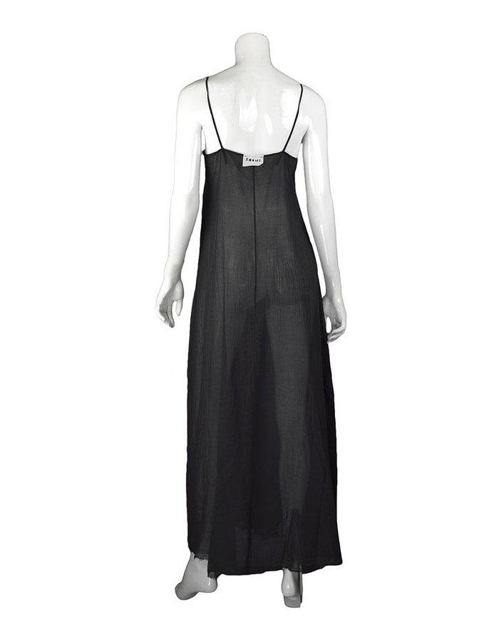 LOST AND FOUND ROOMS BLACK COTTON SLIP DRESS