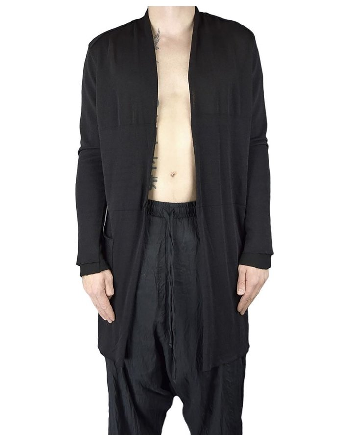 LOST AND FOUND COTTON AND LINEN KNIT  CARDIGAN :BLK