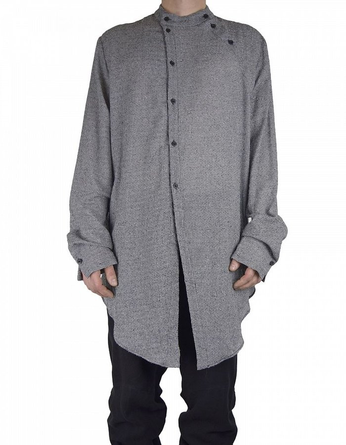 LOST AND FOUND DOUBLE PLACKET SHIRT COTTON AND SILK CHECK