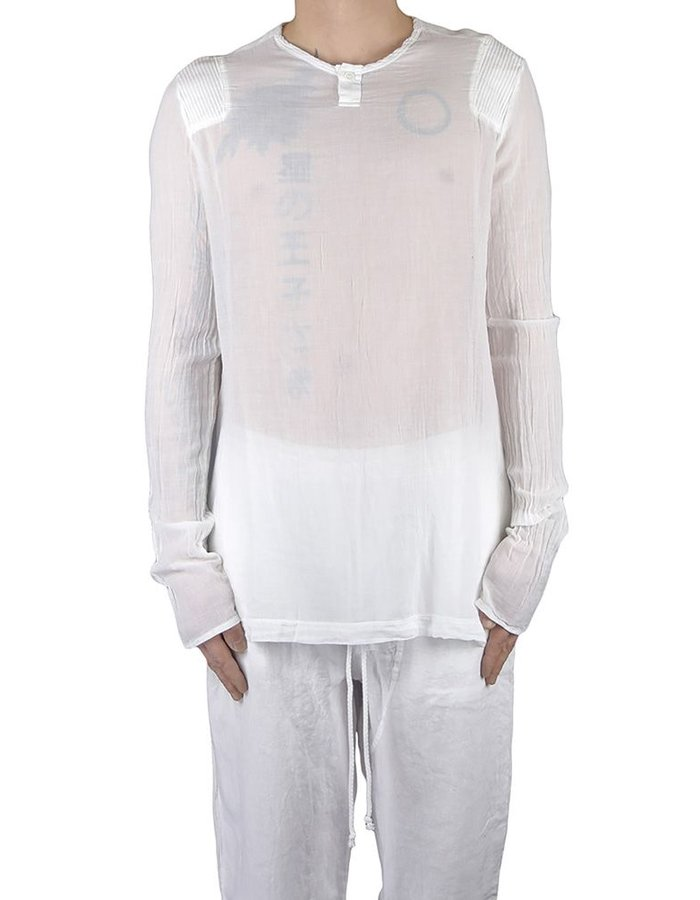LOST AND FOUND ROOMS FINE COTTON GAUZE HENLY TOP WHITE